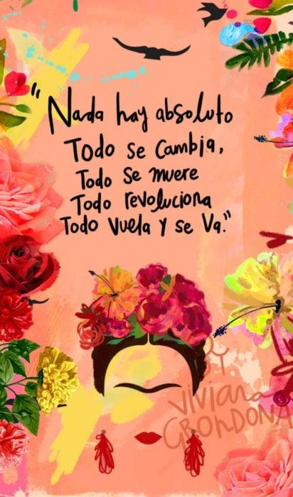 Fondo de pantalla de frases para celular; wallpaper de dibujo de Frida Kahlo