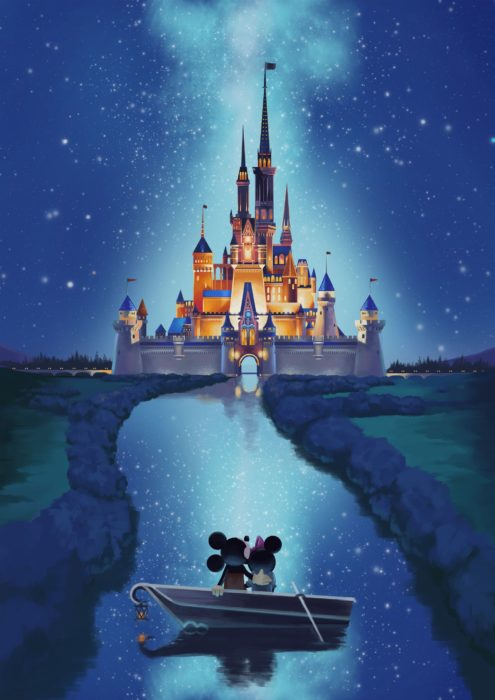 Wallpaper for Disney cell phone; castle wallpaper with Minnie and Mickey in a boat on the river