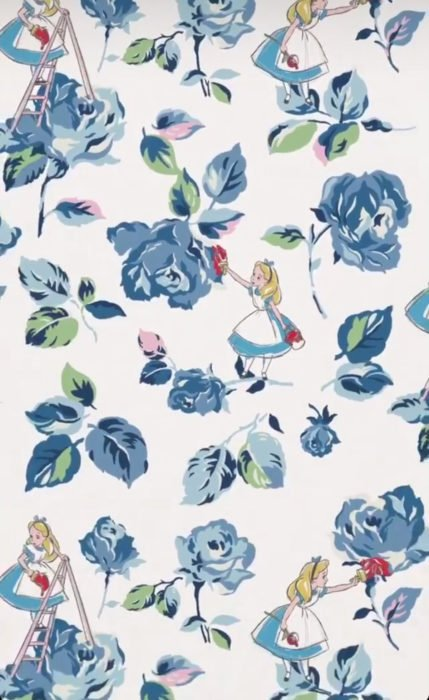 Wallpaper for Disney cell phone; Alice in Wonderland wallpaper painting blue roses with red paint