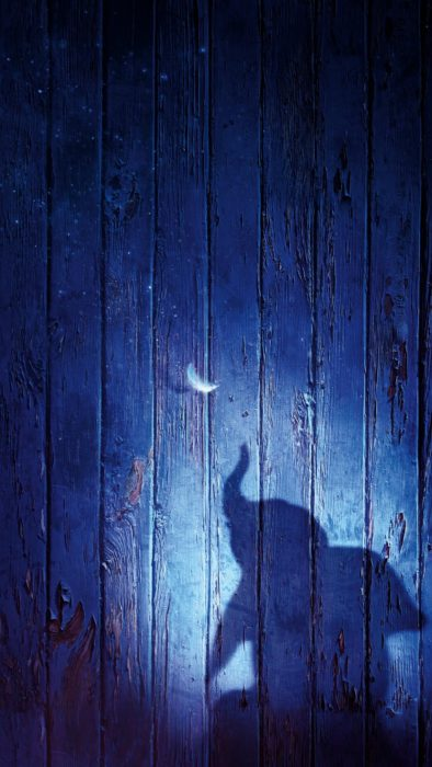 Wallpaper for Disney cell phone;  Dumbo shadow wallpaper blowing a feather