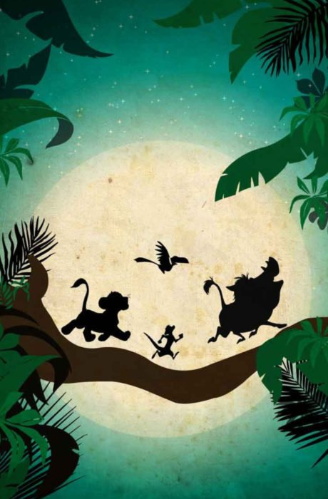 Wallpaper for Disney cell phone;  wallpaper of silhouettes of Simba, Timón, Pumba and Zazú when they sing Hakuna Matata