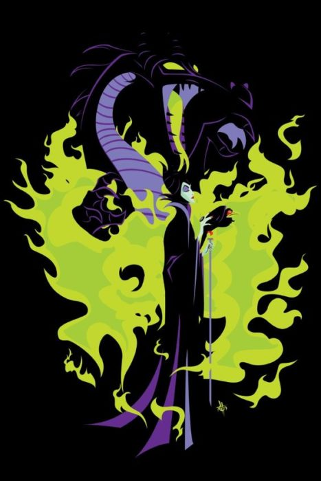Wallpaper for Disney cell phone;  evil movie villain wallpaper Sleeping beauty with her dragon and green flames
