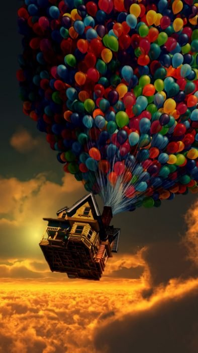 Wallpaper for Disney cell phone;  house wallpaper with many balloons in the movie sky Up, a tall adventure