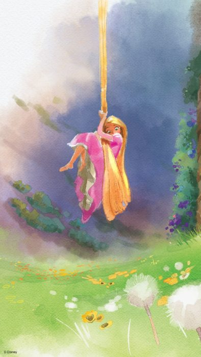 Wallpaper for Disney cell phone;  Rapunzel watercolor painting wallpaper hanging from her hair