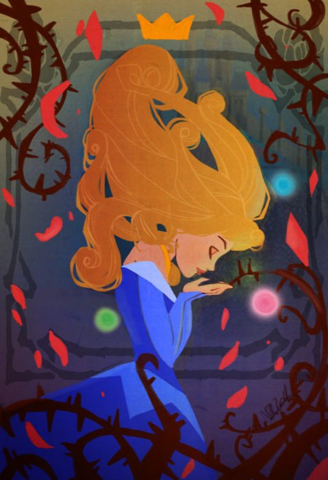 Wallpaper for Disney cell phone; Aurora illustration wallpaper of the children's movie Sleeping beauty, with blue dress