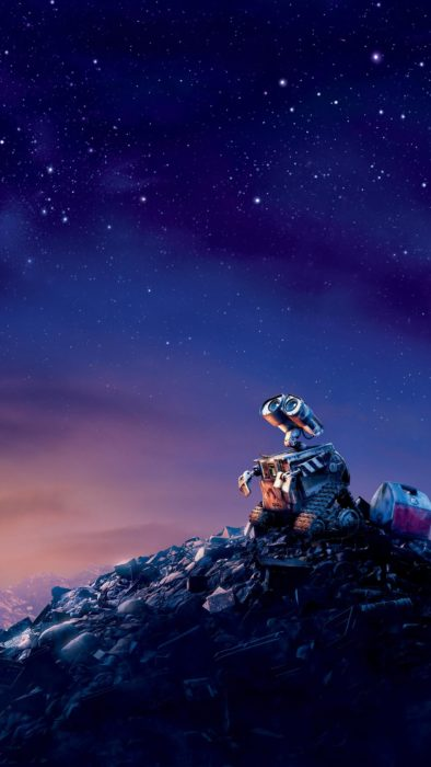 Wallpaper for Disney cell phone;  Wall-E wallpaper looking sad at the sky over a mountain of casura