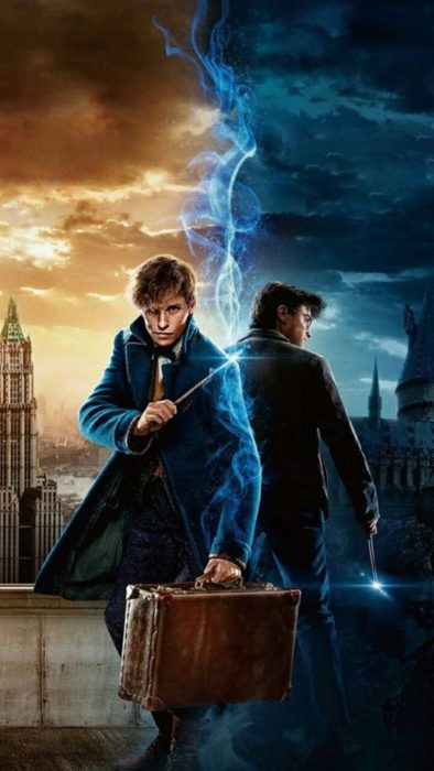Sfondo mobile con Harry Potter e Newt Scamander, universo di Harry Potter