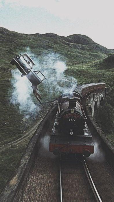 Expreso de Hogwarts viajando a toda velocidad por Inglaterra, Harry Potter
