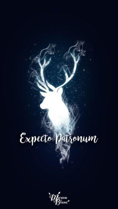 Fondo de pantalla para celular con la silueta iluminada de in ciervo, expecto patronum, Harry Potter