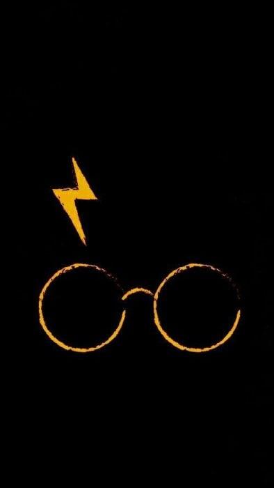 Fondo de pantalla para celular con la cicatriz y gafas de Harry Potter