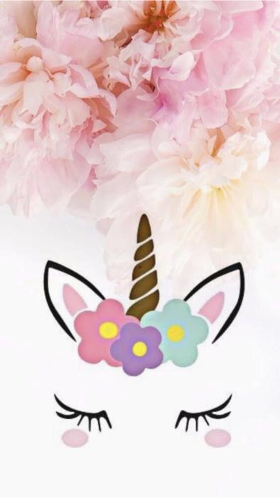 Fondo de pantalla para celular con silueta de unicornio y flores de colores