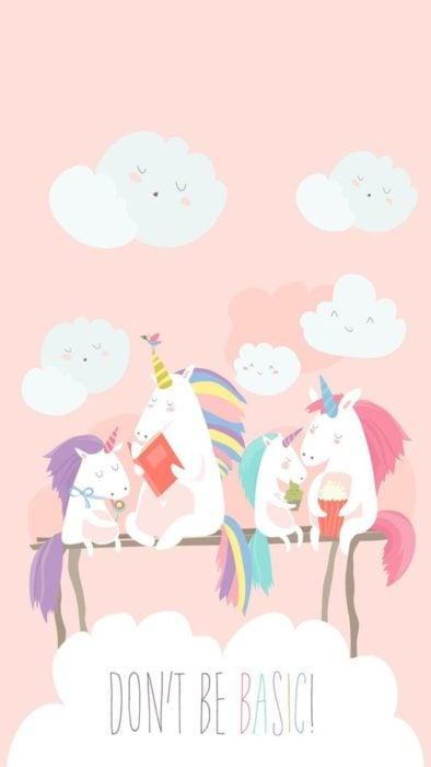 Fondo de pantalla para celular con dibujos de unicornios leyendo libros de colores
