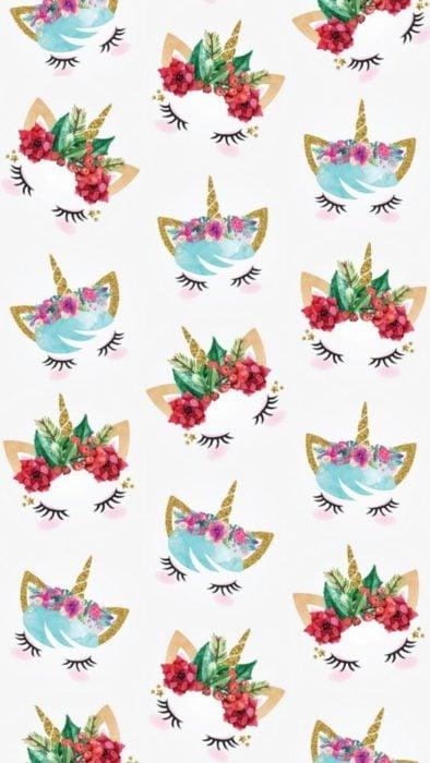 Fondo de pantalla para celular con dibujos de unicornios con diademas de flores rojas