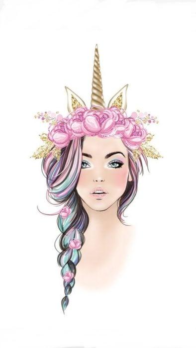 Fondo de pantalla para celular con el rostro de una chica usando una diadema con cuerno de unicornio