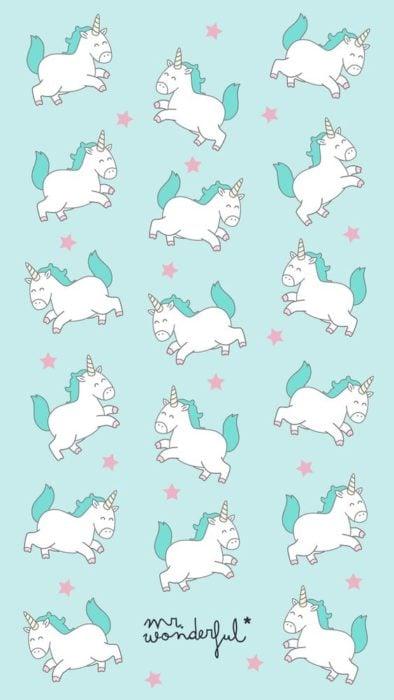 Fondo de pantalla para celular con dibujos de pequeños unicornios regordetes