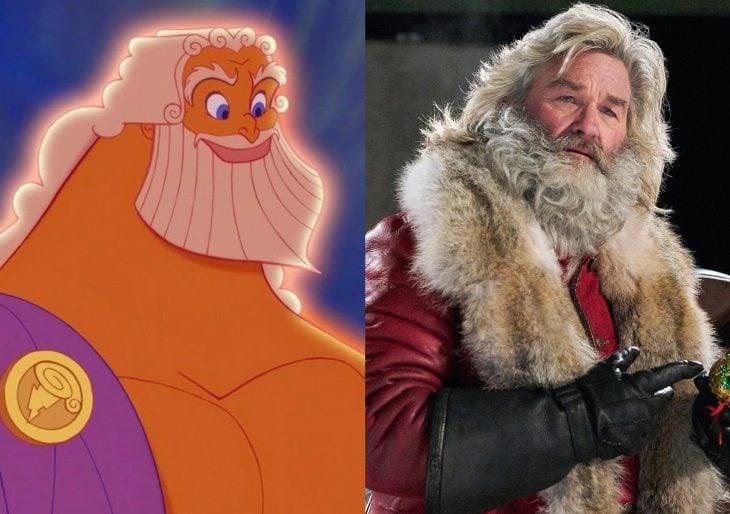 Versión live action de película de Disney, Hércules; actor de Crónicas de Navidad, Kurt Russell con barba y vestido de Santa Claus, interpreta a Zeus, dios del trueno