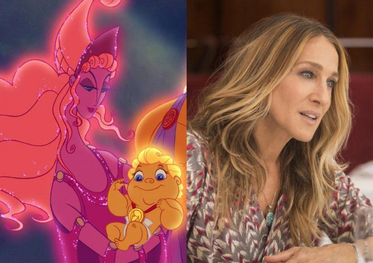 Versión live action de película de Disney, Hércules; actriz de cara larga, Sarah Jessica Parker como Hera, esposa de Zeus