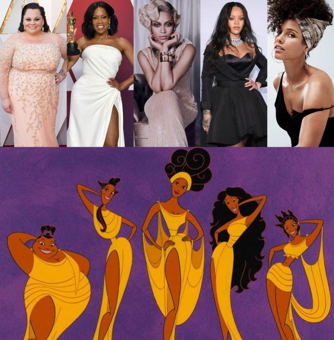 Versión live action de película de Disney, Hércules; actrices y cantantes Keala Settle, Regina King, Beyoncé, Rihanna y Alicia Keys como Las musas