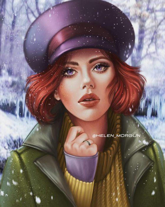 ilustración de Scarlett Johansson como Anastasia, Disney princesas, Helen Morgun