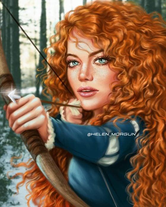 Ilustración de Emma Stone como Mérida en Valiente, Disney princesas, Helen Morgun