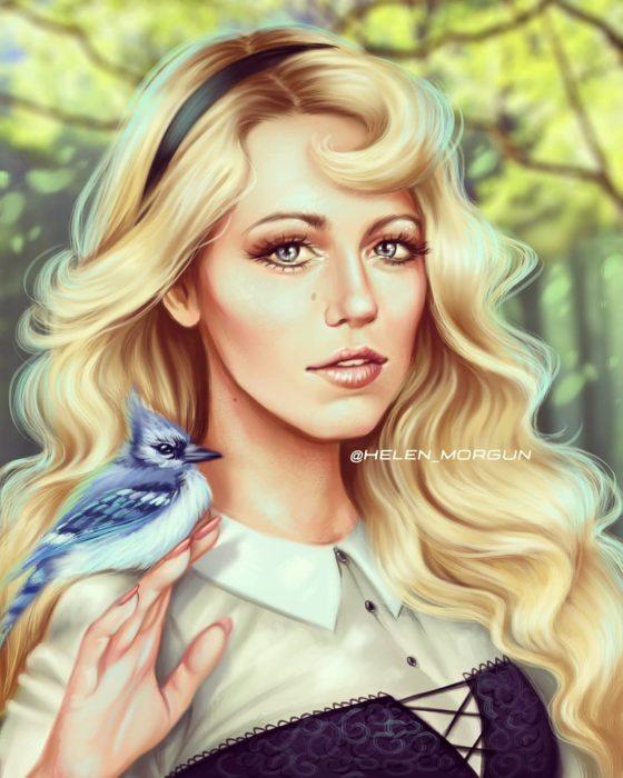Ilustración de Blake Lively como Aurora, La Bella Durmiente, Disney princesas, Helen Morgun