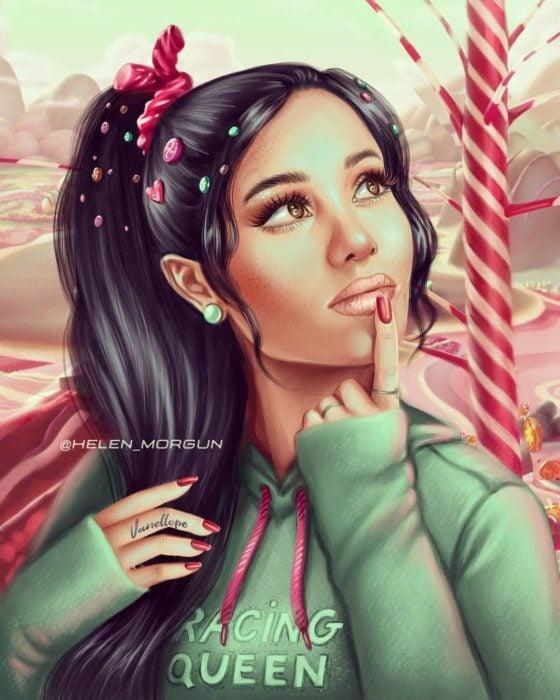 Ilustración de Ariana Grande vestida como Vanellope,, Ralph el demoledor, Disney princesas, Helen Morgun