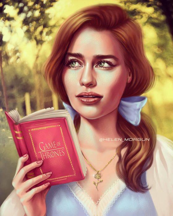 Ilustración de Emilia Clarke como Bella, La Bella y la Bestia, Disney princesas, Helen Morgun
