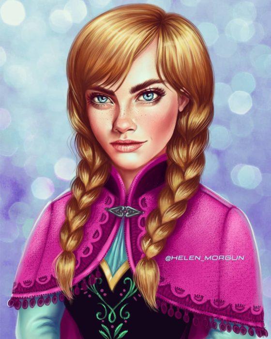 Ilustración de Cara Delevigne como Anna, Frozen, Disney princesas, Helen Morgun