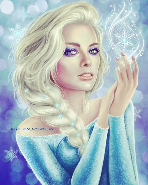 Ilustración de Margot Robbie como Elsa, Disney princesas, Helen Morgun