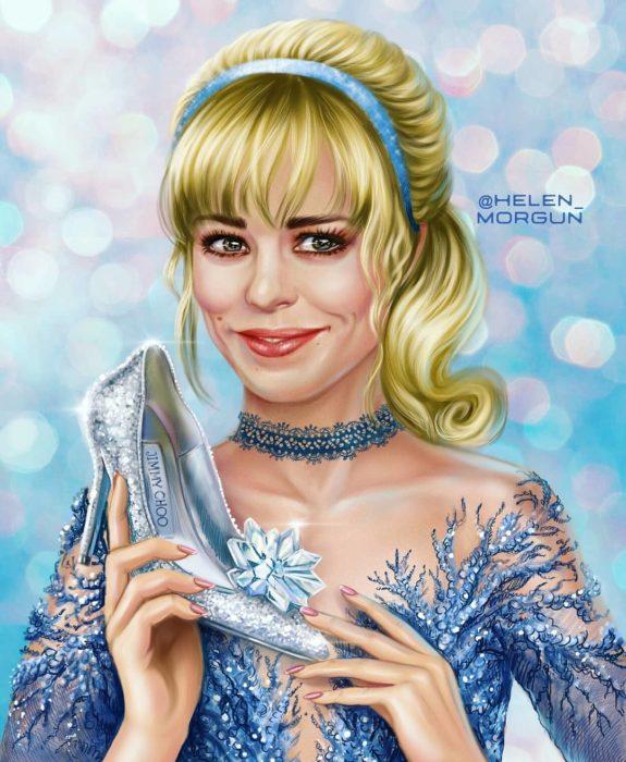 Ilustración de Rachel McAdams como Cenecienta, La Cenicienta, Disney princesas, Helen Morgun