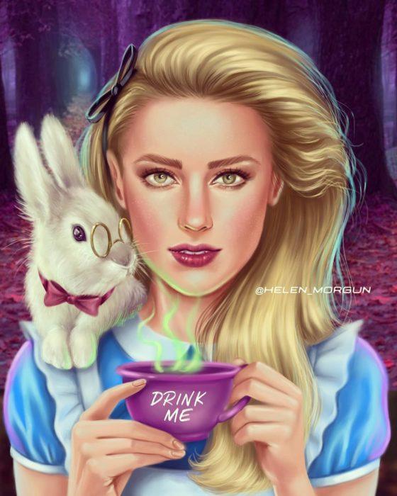 Amber Herad ilustrada como Alicia de Alicia en el país de las maravillas, Disney princesas, Helen Morgun