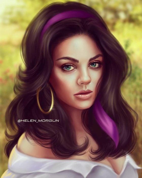 Ilustración de Mila Kunis como Esmeralda, El jorobado de notredam , Disney princesas, Helen Morgun