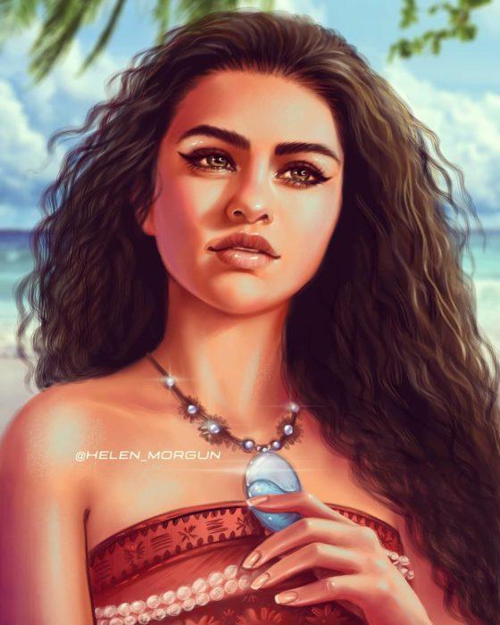 Ilustración de Selena Gomez como Moana, Disney princesas, Helen Morgun