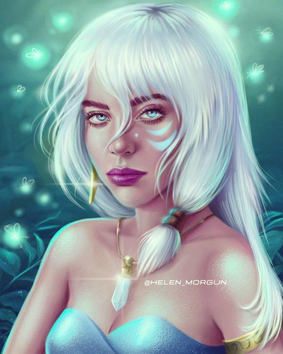 Billi Ellish ilustrada como Kida Nedakh de Atlantis, Disney princesas, Helen Morgun