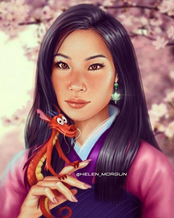 Ilustración de Lucy Lu como Mulan, Disney princesas, Helen Morgun
