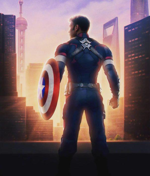 Chris Evans de perfil en el poster de Avengers: Endgame usando traje de Capitán América