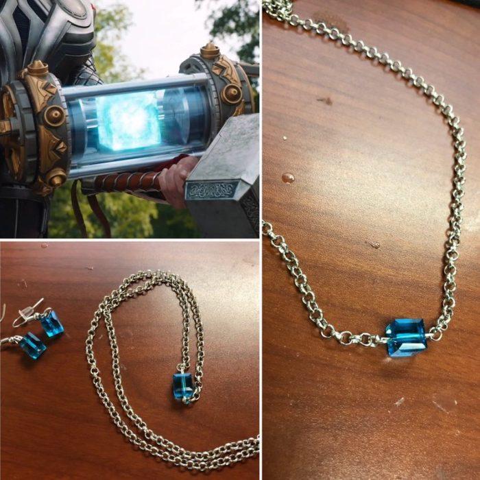 Juego de collar, pendientes y brazalete con piedra azul, joyería inspirada en Marvel