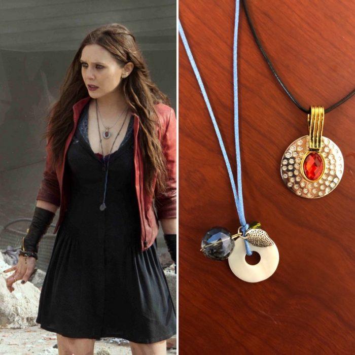 Dijes en dorado con piedras rojas, Bruja Escarlata, joyería inspirada Marvel