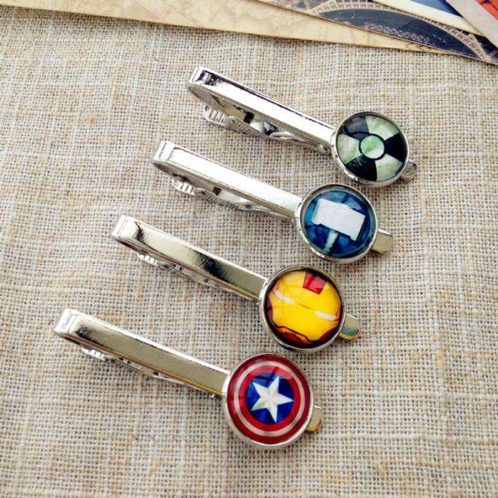Broches para cabello de plata con los dijes de los superhéroes Marvel, joyería inspirada en Marvel
