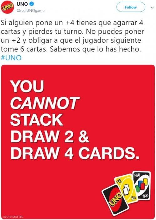 El juego de mesa UNO revela as reglas del juego: no se pueden acumular cartas, y usuarios de Twitter reaccionan con memes