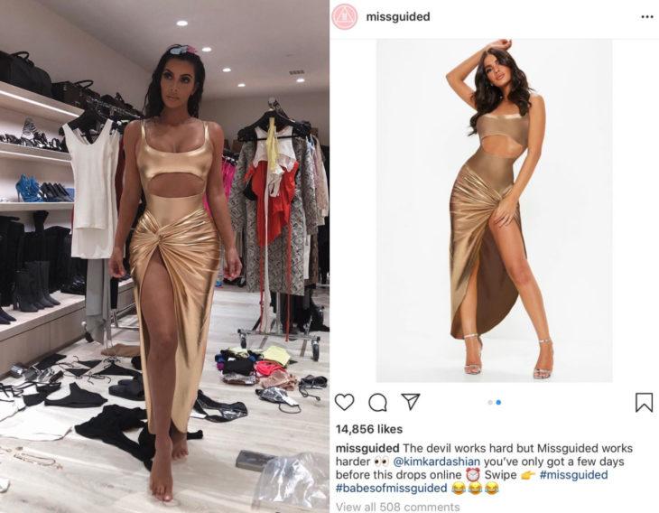 Kim Kardashian demanda a la marca de ropa Missguided por copiar su vestido dorado con abertura en la pierna