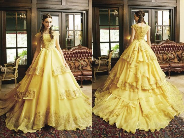 Ideas para quinceañera estilo La Bella y la Bestia de Disney; vestido de princesa amarillo