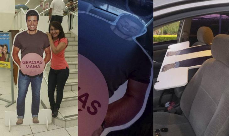 Mujer que se robó a un cartón de tamaño gigante con la figura de Chayanne