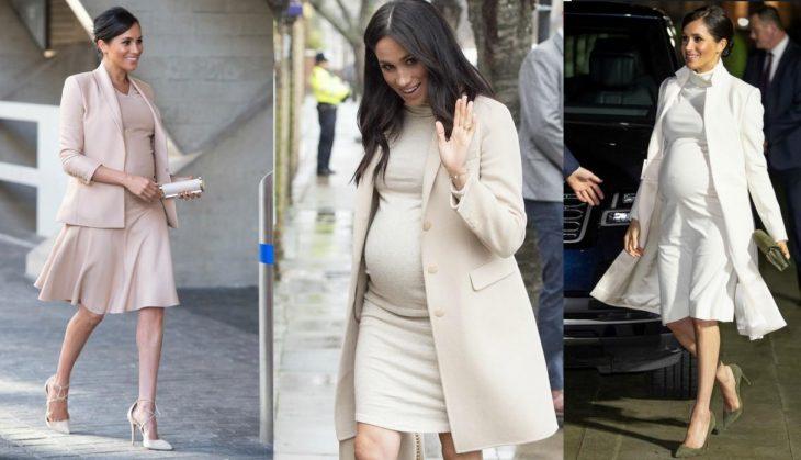 Meghan Markle usando ropa de maternidad durante su embarazo
