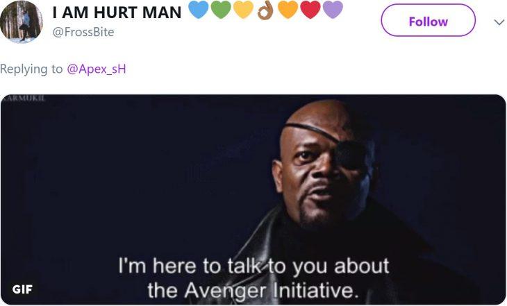 Niña entrena a su ave para atacar cuando ella grita; Samuel L. Jackson como Nick Fury en los Avengers, hombre moreno con un parche en el ojo