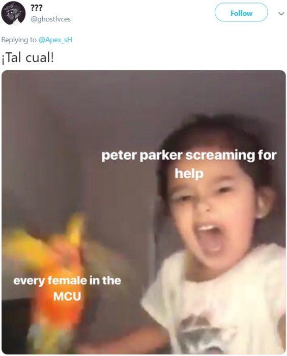 Niña entrena a su loro para atacar cuando ella grita; meme de Peter Parker, el hombre araña, cuando lleva el guantelete con las gemas del infinito y las mujeres de Marvel lo ayudan