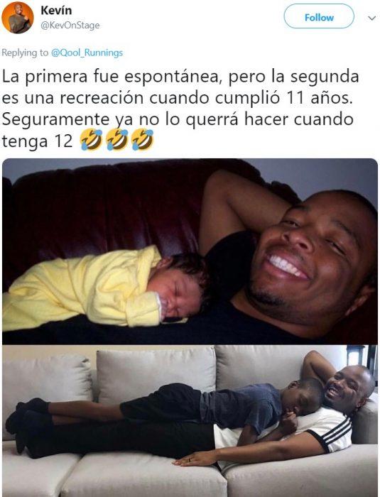 Papá recrea foto con su hijo recién nacido y a los 11 años dormido sobre él