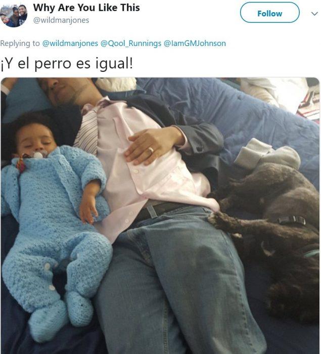 Fotografías de bebés dormidos sobre sus papás en posiciones incómodas