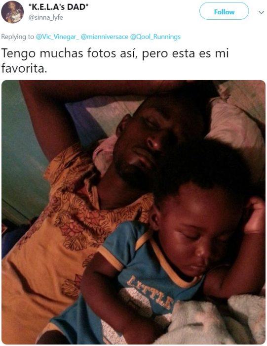 Papá comparte fotografía de él dormido junto a su bebé