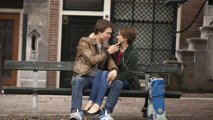 Shailene Woodley y Ansel Elgort sentados en una banca mirándose a los ojos y sonriendo, escena de la película Bajo la misma estrella